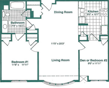 Senior Living Apartments. Apartment Layout 1